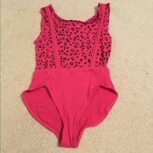 Rare vintage 90's hot pink leopard aerobic suit LG